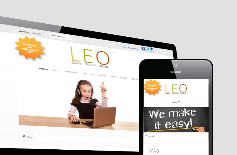 Learn English Online, Homepage für e-Learning - Responsive Webdesign • Wordpress