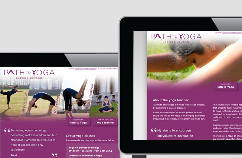 Path to Yoga, Individuelle Yoga-Website - Webdesign • Programmierung